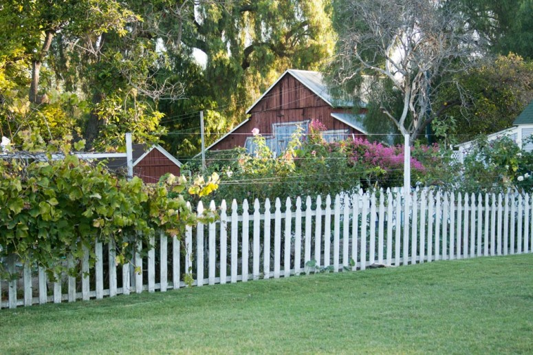 White Picket Fence surrounding a Garden at Paddison Farm
